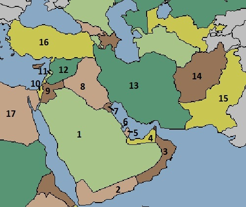 Map of the Middle East Quiz Game   Online Quiz   Quizzes.cc